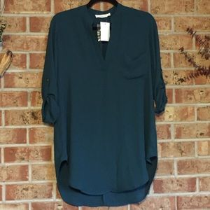 NWT Lush Perfect Henley tunic deep teal sz Small
